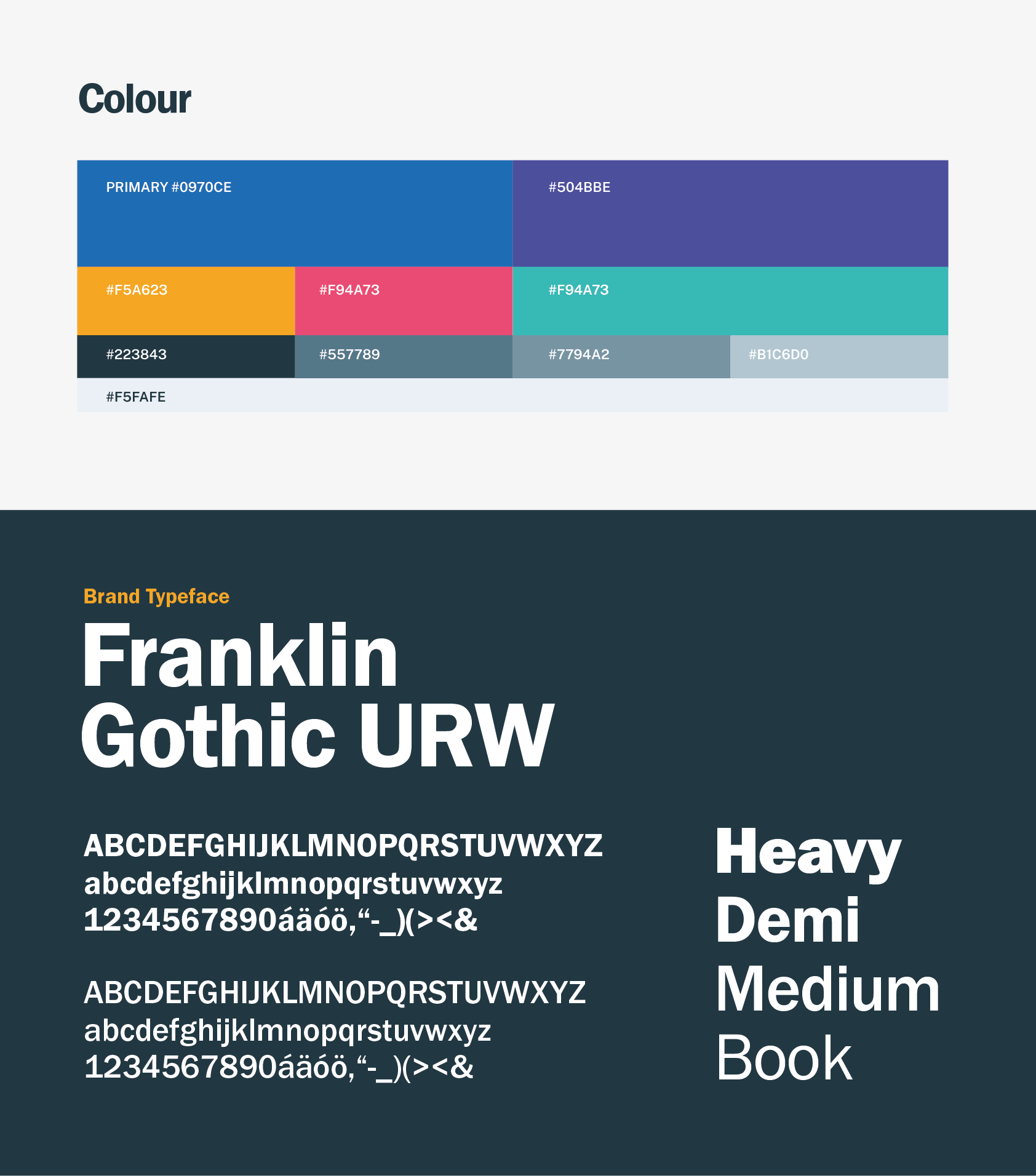 Colours and type
